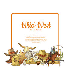hand drawn wild west cowboy elements below vector image