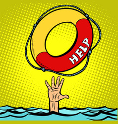 Hand drowning rescue circle help vector