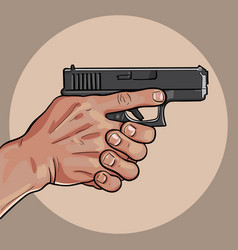 Hand with gun gun control using both hands vector