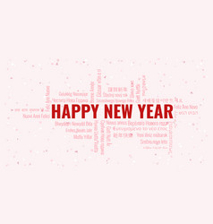 Happy new year text with word cloud on a white vector