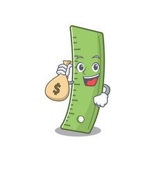 Happy rich ruler cartoon character with money bag vector