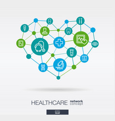 Healthcare integrated thin line icons in heart vector
