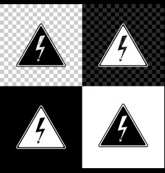 high voltage sign icon isolated on black white vector image