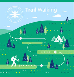 Hiking map forest trail running or cycling path vector
