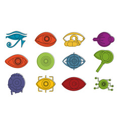 human eye icon set color outline style vector image