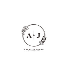 Initial aj letters hand drawn feminine and floral vector