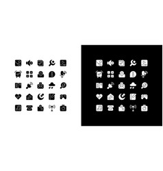 interface glyph icons set for night and day mode vector image