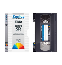 isolated vintage vhs tape with cover vector image