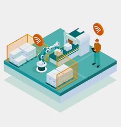 Isometric iot smart industry 40 with development vector