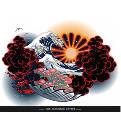 Japanese tattoo landscape vector