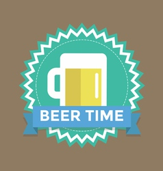 Label with text beer time vector