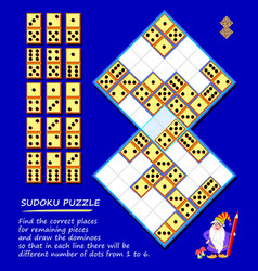 Logic puzzle sudoku game find correct places vector