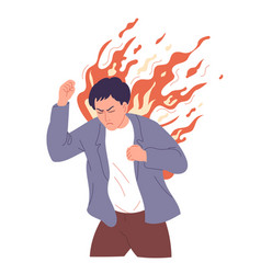 Man is too angry seized with fury burst rage vector