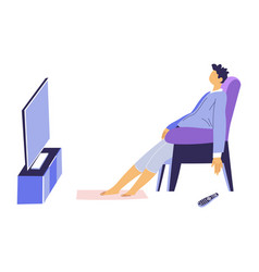 man watching television sitting in armchair home vector image