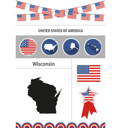 map wisconsin set flat design icons vector image