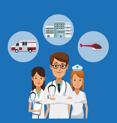 medical team with symbols vector image