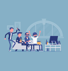 men gathering at home assembly or friends meeting vector image