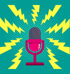 Microphone on blue halftone background vector