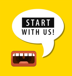 mouth and tag start with us vector image
