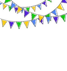Multicolored hand-drawn buntings garlands in vector