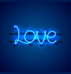 Neon text love signboard on the blue background vector