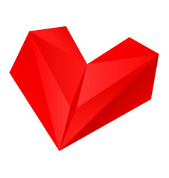 Origami red heart folding paper vector