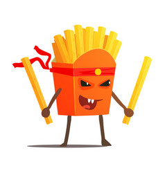 pack of fries with two sticks karate fighter fast vector image
