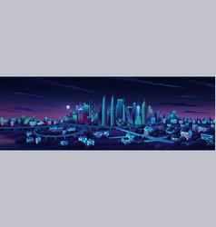 panorama cityscape middle kuala lumpur famous vector image