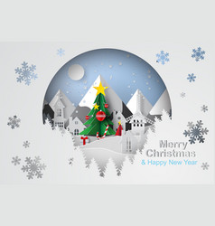 paper art and craft of christmas tree vector image vector image