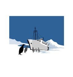 Passenger Ship Cargo Boat Anchor Retro vector image