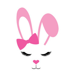 Pink bunny with long lashes vector