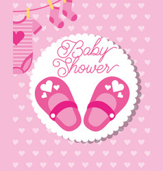 Pink little shoes socks and bodysuit baby shower vector