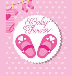 Pink little shoes socks and bodysuit bashower vector