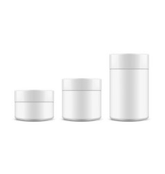 plastic cosmetic packaging jars on white back vector image