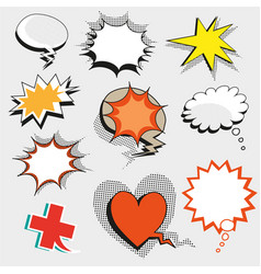 pop art comic speech bubbles shapes and vector image