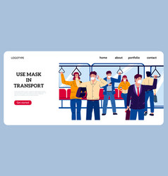 public transport landing page crowd in subway or vector image