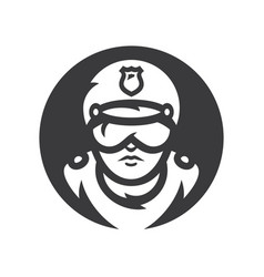 road policeman silhouette sign vector image
