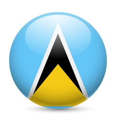 Round glossy icon of saint lucia vector image