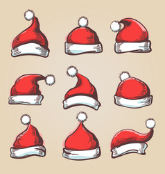 Santa hat set vector
