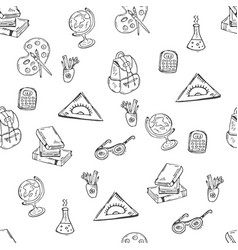 School class pattern with supplies vector