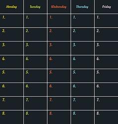 School timetable icon illstration on dark vector