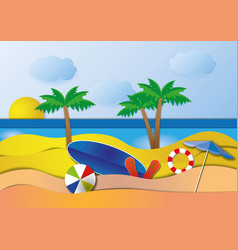 sea view in summer with water play equipment vector image