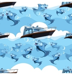 seamless pattern with blue fish and yacht in the vector image