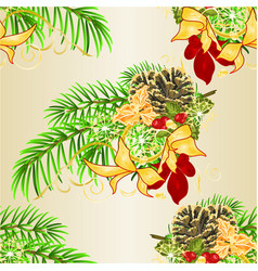 seamless texture christmas tree and pine cones vector image