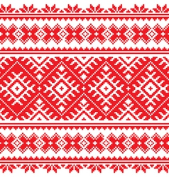Seamless Ukrainian folk red embroidery pattern vector