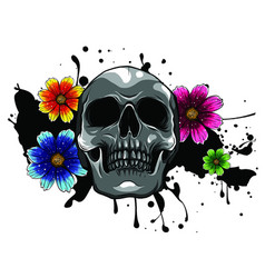 Skull and flowers day dead vintage vector