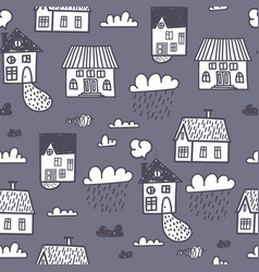 Spring town seamless pattern vector