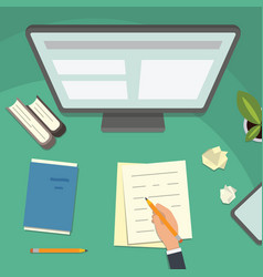 study table and work desktop vector image