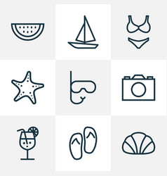summer outline icons set collection of melon vector image