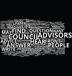 The council of advisors text background word vector